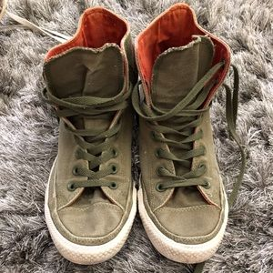 Men's converse high tops olive green men 9 wom 11